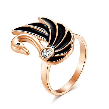 billige Motering-Dame Statement Ring Ring Kubisk Zirkonium 1pc Sølv Rose Gull Rustfritt stål damer Kunstnerisk Unikt design Aftenselskap Valentine Smykker Klassisk Svane Kul
