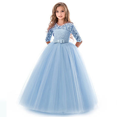 cheap Girls' Clothing-Kids Girls' Basic Gowns Wedding Party Solid Colored Short Sleeve Dress Blue