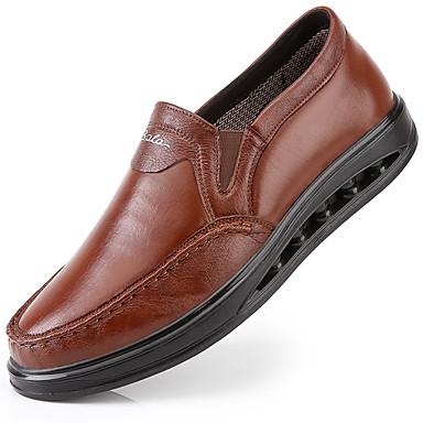 Muškarci Formalne cipele Mekana koža Jesen Vintage / Ležerne prilike Natikače i mokasinke Masaža Crn / Braon / Ured i karijera / Kožne cipele