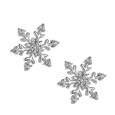 povoljno Modne naušnice-Žene Sitne naušnice 3D Pahulja dame Stilski Jednostavan Glina Imitacija dijamanta Naušnice Jewelry Pink Za Božić Dnevno 1 par