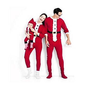 povoljno Zazor-Obiteljski izgled Osnovni Božić Dnevno Color block Božić Dugih rukava Komplet odjeće Red