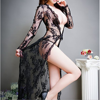 Žene Čipka / Mrežica Sexy Odijelo Noćno rublje Vez Crn One-Size