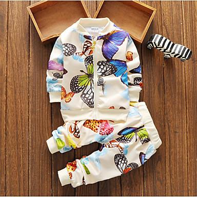 povoljno Odjeća za bebe-Dijete Djevojčice Osnovni Dnevno Geometrijski oblici Dugih rukava Regularna Komplet odjeće Obala / Dijete koje je tek prohodalo