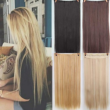 cheap Synthetic Extensions-Synthetic Extentions Straight Synthetic Hair 22 inch Hair Extension Clip In / On 1 Piece Synthetic Extention Women's Daily Wear
