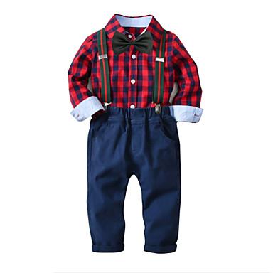 povoljno Odjeća za dječake-Djeca Dječaci Osnovni Houndstooth Božić Dugih rukava Pamuk Komplet odjeće Red