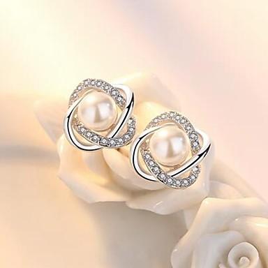 Žene Sitne naušnice Cvijet dame Stilski Klasik Imitacija bisera Umjetno drago kamenje Naušnice Jewelry Pink Za Dnevno 1 par