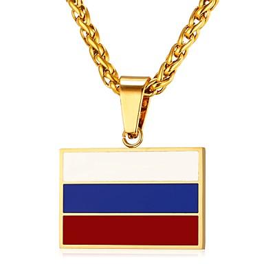 povoljno Modne ogrlice-Muškarci Ogrlice s privjeskom Klasičan Zastava Patriotski nakit Klasik Tikovina Zlato Pink 55 cm Ogrlice Jewelry 1pc Za Dar Dnevno