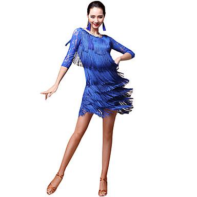 Latino ples Outfits Žene Seksi blagdanski kostimi Tejszövet Uzorak / print / S resicama / Kombinacija materijala Rukava do lakta Sudačko Suknje / Top