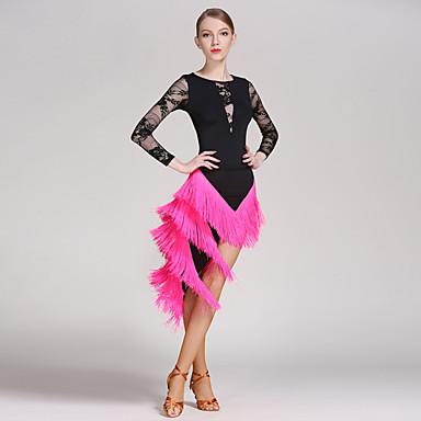 961c8de0a17e Latin Dance Outfits Women's Training / Performance Lace / Ice Silk Tassel / Split  Joint Long Sleeve High Skirts / Leotard / Onesie 7001296 2019 – $79.99