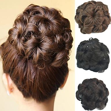preiswerte Haarteil-Hochzeit Braut updo chignon bun Blume synthetischen culry Haarverlängerungen mehr Farben Clip