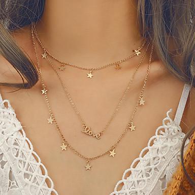 povoljno Modne ogrlice-Žene slojeviti Ogrlice Više slojeva dame Europska pomodan Bikini Legura Zlato 36 cm Ogrlice Jewelry 1pc Za Izlasci Voljeni