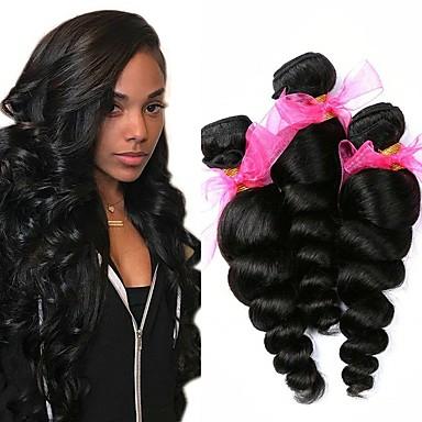 3 paketa Valovita kosa Ljudska kosa Netretirana  ljudske kose Headpiece Ljudske kose plete Styling kose 8-28 inch Prirodna boja Isprepliće ljudske kose Kreativan Nježno Moda Proširenja ljudske kose