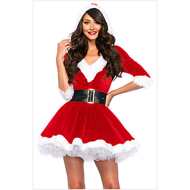 59e851339151e Cosplay Costume Santa Clothes Teen Adults' Women's Christmas Christmas New  Year Festival / Holiday Spandex Terylene Red Carnival Costumes Holiday  7040937 ...
