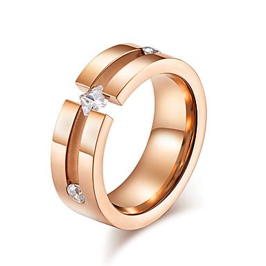 billige Motering-Dame Band Ring Ring Kubisk Zirkonium 1pc Sølv Rose Gull Rustfritt stål damer Stilfull Grunnleggende Ut på byen Valentine Smykker Klassisk Kul