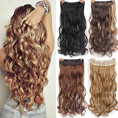 cheap Synthetic Extensions-Synthetic Extentions Natural Wave Synthetic Hair High Quality Heat Resistant Fiber 22 inch Hair Extension Clip In / On Blonde 1 Piece Synthetic Extention Women's Daily Wear