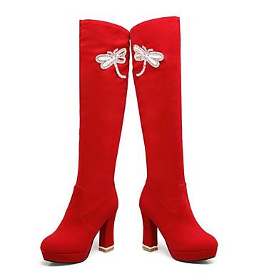 Žene Brušena koža / Mikrovlakana Jesen Čizme Kockasta potpetica Zatvorena Toe Čizme do koljena Crn / Crvena