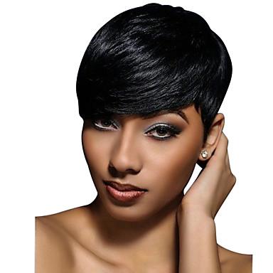 Χαμηλού Κόστους Ομορφιά και μαλλιά-Ανθρώπινη Τρίχα Περούκα Κοντό Κυματιστό Φυσικό Κυματιστό Κούρεμα νεράιδας Σύντομα Hairstyles 2019 Με αφέλειες Berry Φυσικό Κυματιστό σύντομο Περούκα αφροαμερικανικό στυλ Για μαύρες γυναίκες Γυναικεία
