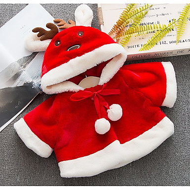 preiswerte Oberbekleidung für Babys-Baby Mädchen Grundlegend Solide / Weihnachten Langarm Standard Baumwolle Jacke & Mantel Weiß