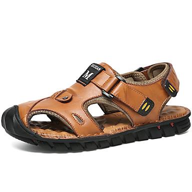 Ανδρικά Παπούτσια άνεσης Δερμάτινο Καλοκαίρι / Ανοιξη καλοκαίρι Καθημερινό Σανδάλια Αναπνέει Μαύρο / Ανοικτό Καφέ / Μπορντώ