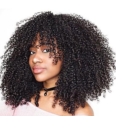 Remy kosa Full Lace Lace Front Perika Asimetrična frizura Rihanna stil Brazilska kosa Afro Kinky Kinky Curly Natural Crna Perika 130% 150% 180% Gustoća kose Nježno Žene Jednostavan dressing Najbolja