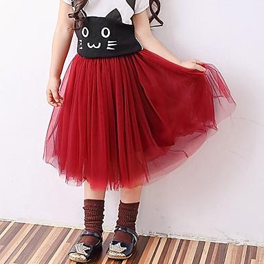 preiswerte Röcke für Mädchen-Baby Mädchen Aktiv Grundlegend Solide Baumwolle Rock Schwarz
