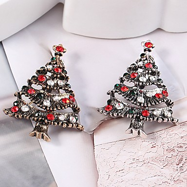 Women's Brooches Hollow Out Christmas Tree Ladies Stylish Classic Rhinestone Brooch Jewelry Gold Silver For Christmas
