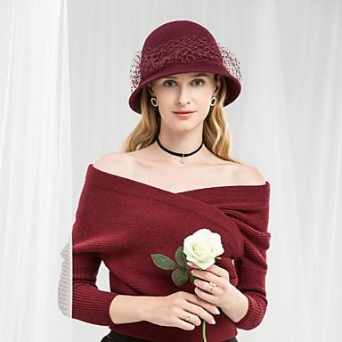 100% vuna Kentucky Derby Hat / kape s Jedna boja / Volani 1pc Kauzalni / Dnevni Nosite Glava