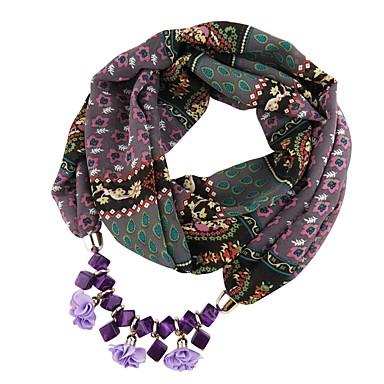 povoljno Modne ogrlice-Žene Ogrlica od šalova Long dame Tropical Uglađeni Ogroman Poly / Cotton Crvena Plava Lila-roza 180 cm Ogrlice Jewelry 1pc Za Nova Godina Voljeni