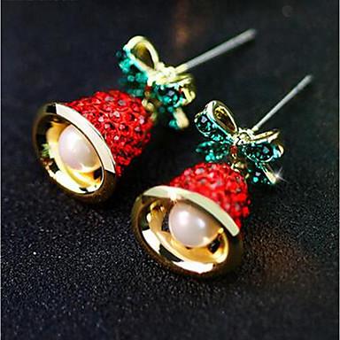 povoljno Modne naušnice-Žene Sitne naušnice 3D Zvono dame Stilski Klasik Imitacija bisera Umjetno drago kamenje Naušnice Jewelry Zlato Za Božić Dnevno 1 par