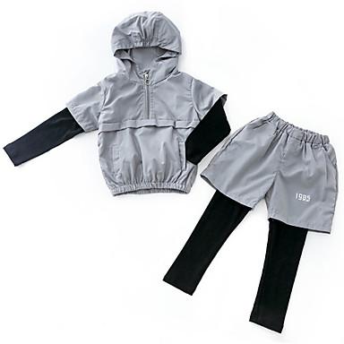 preiswerte Kleidersets für Jungen-Kinder Jungen Grundlegend Druck Langarm Kleidungs Set Schwarz