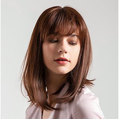 Ljudski kose bez kaplama Ljudska kosa Prirodno ravno Bob frizura / Stražnji dio Stil Novi Dolazak / Prirodna linija za kosu Smeđa Kratko Capless Perika Žene
