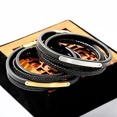 levne Dámské šperky-Pánské Wrap Náramky Kožené náramky Módní Kožené Náramek šperky Zlatá / Stříbrná Pro Denní Jdeme ven
