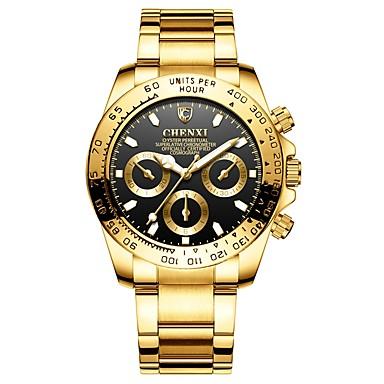 levne Pánské-Pánské Náramkové hodinky japonština Křemenný Nerez Zlatá 30 m Voděodolné Chronograf Hodinky na běžné nošení Analogové Skládaný Módní - Černá Zelená Modrá Dva roky Životnost baterie / Velký ciferník