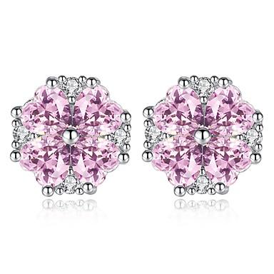 Žene Ametist Sitne naušnice Klasičan Cvijet dame Slatka Style Druzy Umjetno drago kamenje Naušnice Jewelry Pink Za Božić Dnevno 1 par