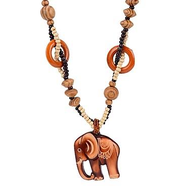 povoljno Modne ogrlice-Žene Ogrlice s privjeskom 3D Slon dame Jednostavan drven Drvo Braon 64 cm Ogrlice Jewelry 1pc Za Dnevno