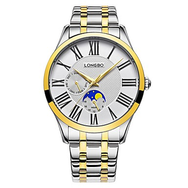 levne Pánské-LONGBO Pánské Hodinky k šatům Náramkové hodinky japonština Japonské Quartz Nerez Zelená / Zlatá 30 m Voděodolné Cool Analogové Klasické Módní - Zlatá stříbrná / černá
