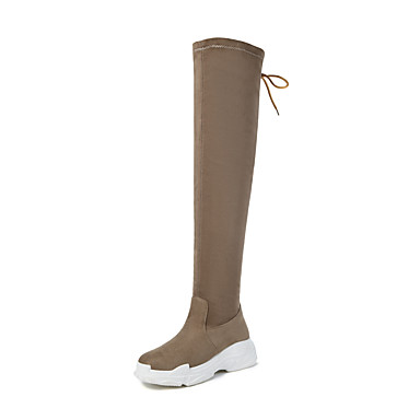 391435557ed Women s Satin Fall   Winter Preppy   Minimalism Boots Wedge Heel Round Toe  Over The Knee Boots Black   Beige 7008875 2019 –  39.99