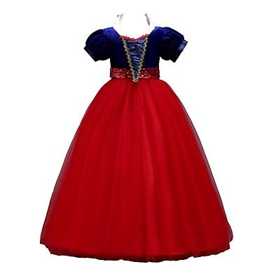 2699 Princesas Princesa Vintage Años 70 Años 80 Vestidos Ropa De Fiesta Chica Niños Organdí Disfraz Amarillo Rojo Azul Cosecha Cosplay Sin