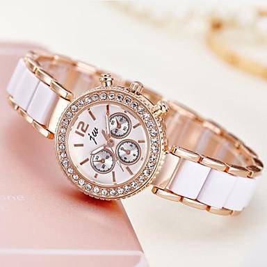 levne Dámské-Dámské Hodinky k šatům Náramkové hodinky Diamond Watch Křemenný Ivory Hodinky na běžné nošení Analogové dámy Elegantní Minimalistické - Růžové zlato
