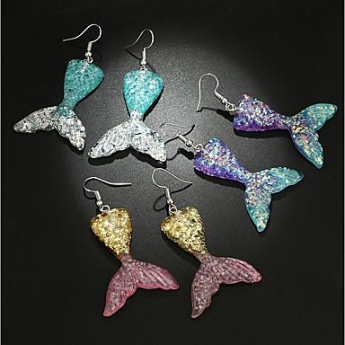 voordelige Dames Sieraden-Dames Druppel oorbellen 3D Meermin Dames Stijlvol Klassiek oorbellen Sieraden Paars / Geel / Blauw Voor Dagelijks 1 paar
