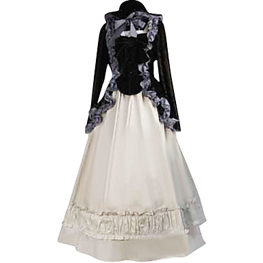 Medieval Dress Party Costume Women\'s Costume Black / White Vintage ...
