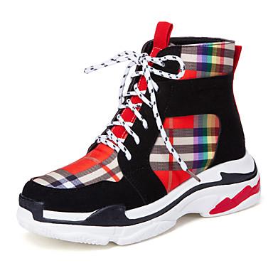 Žene Saten Jesen zima Ležerne prilike / Stil preppy Sneakers Hodanje Wedge Heel Okrugli Toe Crn / Bež / Color block