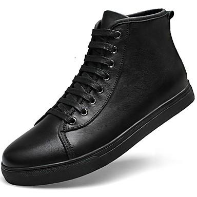 Muškarci Kožne cipele Mekana koža Jesen zima Klasik / Ležerne prilike Sneakers Ugrijati Crn / Vanjski / Udobne cipele
