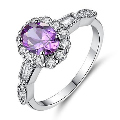 בגדי ריקוד נשים טבעת הטבעת טבעת אירוסין זירקונה מעוקבת 1pc כחול כסף סטרלינג טיטניום פלדה Circle Shape Geometric Shape וינטאג' אלגנטית חתונה ארוסים תכשיטים סגנון וינטג' קלאסי