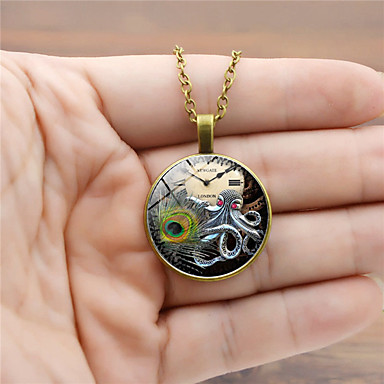 cheap Pendant Necklaces-Men's Pendant Necklace Classic Animal Vintage Trendy Steampunk Glass Alloy Black Gold Silver 45+5 cm Necklace Jewelry 1pc For Street Club