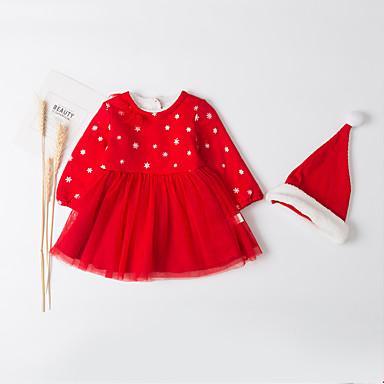povoljno Odjeća za bebe-Dijete Djevojčice Aktivan / Osnovni Dnevno Crno-crvena Kolaž Kolaž Dugih rukava Duga Dug Midi Pamuk Haljina Red / Dijete koje je tek prohodalo