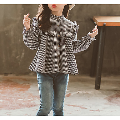 cheap Girls' Tops-Kids Girls' Basic Daily Solid Colored Long Sleeve Regular Cotton Blouse Black