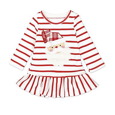 povoljno Odjeća za bebe-Dijete Djevojčice Aktivan Božić Prugasti uzorak Dugih rukava Do koljena Haljina Obala / Dijete koje je tek prohodalo