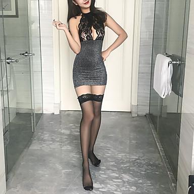 Žene Čipka / Otvorena leđa Super seksi Odijelo Noćno rublje Žakard Crn Svijetlosiva One-Size