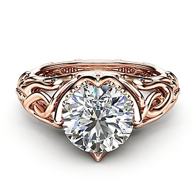 cheap Rings-Women's Ladies Ring Diamond Cubic Zirconia 1pc Rose Gold Copper Rose Gold Plated Imitation Diamond Ladies Artistic Romantic Party Date Jewelry Hollow Out Tree of Life Clouds Lovely